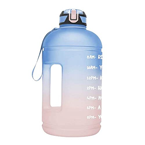 JINBAOYA-Portable half-gallon 2.5L sports water bottle with portable straw and time stamp, BPA-free and leak-proof Tritan, suitable for fitness, gym and outdoor sports,pink/Yellow Gradient