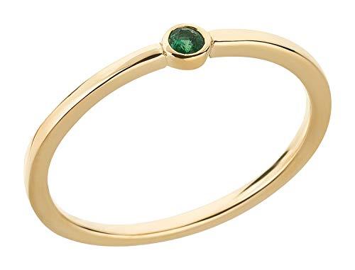 Ardeo Aurum Damenring aus 375 Gold Gelbgold mit natürlichem Smaragd grün im Solitär-Stil schmal Vorsteckring Gr. 60