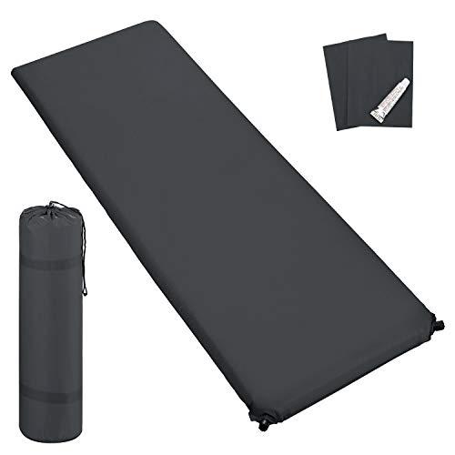 Outdoor Isomatte, selbstaufblasend, ca. 2 m Länge, inkl. Flick Set - selbstaufblasbare Luftmatratze geeignet zum Camping und fürs Zelt mit kleinem Packmaß (grau, 6 cm Polsterdicke)