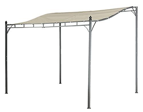 Jet-line Pavillion Lagos beige 3 x 2.5 m Pergola Anbau mit Dach UV Schutz Beschattung Sonnenschutz UV Garten Terrasse Balkon Anbaupavillion