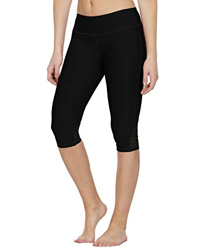 icyzone Damen Sport Mesh Leggings - 3/4 Sporthose kurz Training Tights Fitness Capri Yoga Pants (Black, M)