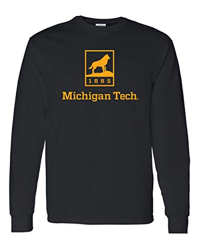 CreateMyTee | Michigan Tech Huskies 1885 One Color Long Sleeve | (Black, Large)