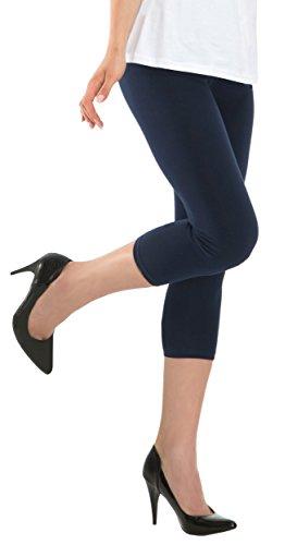 BeLady Damen Leggings 3/4 Capri aus Baumwolle Blickdichte Leggins Viele Farben (Dunkelblau, 6XL - 52)