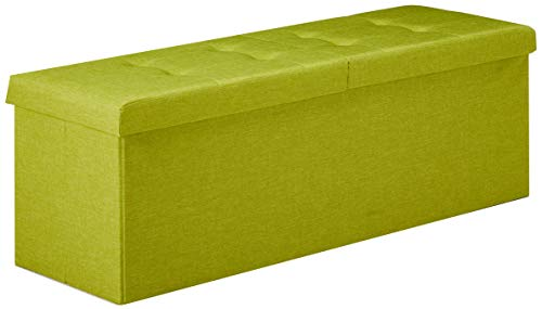 Otto & Ben Folding Toy Box Chest with Smart Lift Top Upholstered Tufted Ottomans Bench Foot Rest, Lime Green