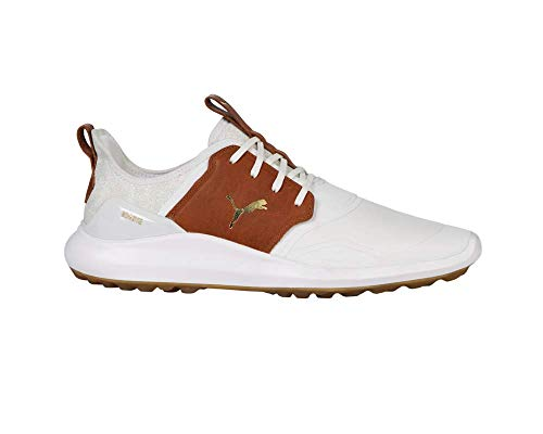 PUMA Mens Ignite Nxt Crafted Golf Shoe White Leather Brown Team Gold 6 UK