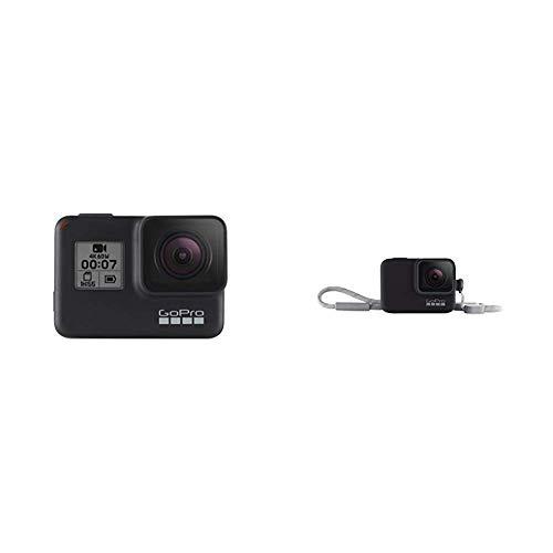 GoPro HERO7 Schwarz - wasserdichte digitale Actionkamera mit Touchscreen, 4K-HD-Videos, 12-MP-Fotos, Livestreaming, Stabilisierung + Hülle + Trageband (offizielles Zubehör) Schwarz
