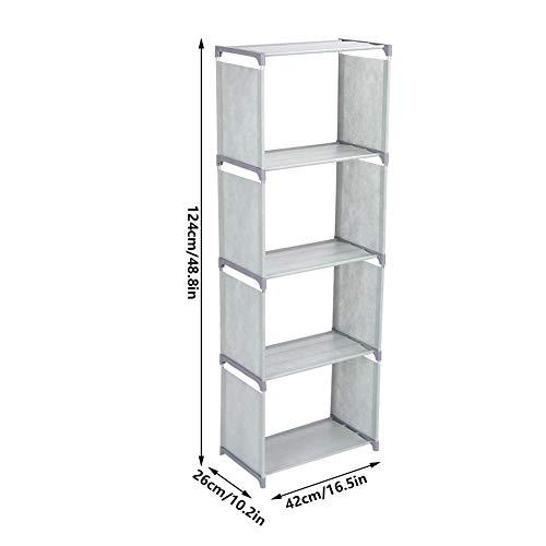 Estante de armazenamento multicamadas, prateleira de armazenamento de estante de pé feita de tecido não tecido Organizador da casa para o quarto na sala de estar (16,5 x 10,2(grey)