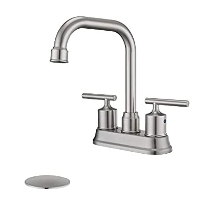 HOMELODY Bathroom Faucet Brushed Nickel 4 inch Centerset Bathroom Sink Faucet 2 Handle, 360° Swivel Spout Lavatory Faucet with Drain Assembly