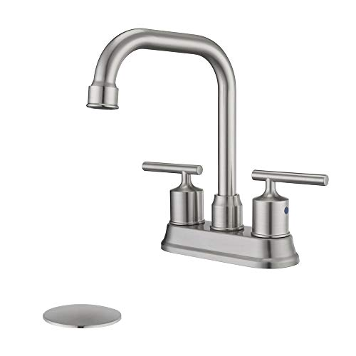 Learn More About HOMELODY 2 Handle Bathroom Faucet Brushed Nickel Lavatory Faucet 4 inch Centerset B...