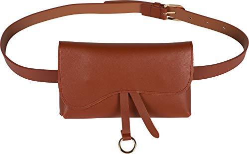 styleBREAKER Damen Hüfttasche Uni mit geschwungenem Überschlag, Druckknopf Verschluss, Gürteltasche, Bauchtasche 02012360, Farbe:Cognac