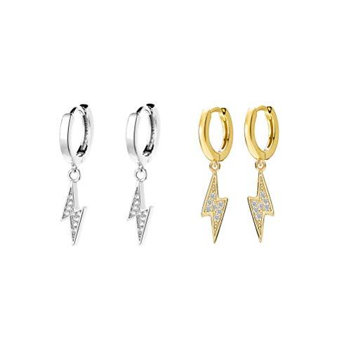 Happyyami 2 Pair Lightning Earrings Hoop Bolt Dangle Earrings Sterling Silver Dipped Huggie Drop Clip Stud Delicate Charm Punk Fashion Jewelry for Women Girls