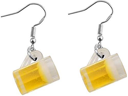 Orecchini in miniatura a forma di tazza di birra, regalo per gli amanti della birra e Acciaio inossidabile, colore: Orecchini giallo birra, cod. U