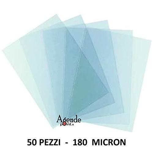 Copertine acetato trasparente per rilegatura 50 fogli 180 micron a4 lucide 21x29