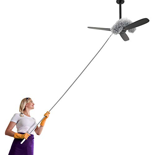 Anawin Microfiber Duster for Cleaning, 100'' Duster with Extension Pole, Extendable Bendable Cobweb Telescoping Long Dusters for High Ceiling Fan, Blinds, Vents, Furniture, Cars(Single Head)