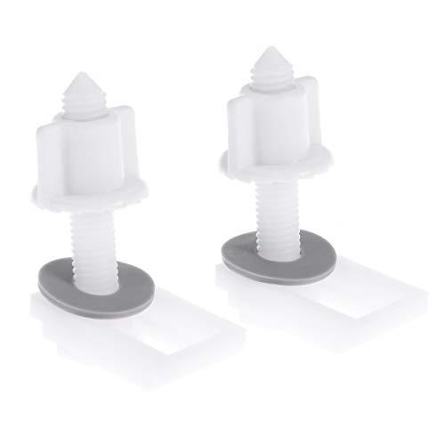 OUNONA 6 Piezas de plástico Blanco Asiento del Inodoro bisagra Tornillo Tornillo con Tuercas y Arandelas Conjunto Simple Coincidencia de la Cubierta Cuadrada