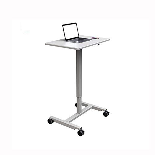 QIDI Laptop-Tisch Stand Schreibtisch Wagen Mausbrett Verstellbare Höhe Abschließbar Rollen Tragbar Beweglich Sofa Bett Büro (Farbe : Weiß)