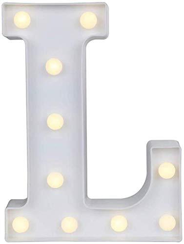 Gspirit LED Festzelt Brief Beleuchtung 26 Alphabet Aufhellen Schild Weihnachten Nachtlicht Lampe zum Hochzeit Zuhause Party Bar Dekoration (L)