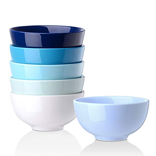 LOVECASA, Bols à Petit Déjeuner en Porcelaine, Bols Japonais à Soupe (6 Pièces- Bleu Dégradé, 5'- 480ML)