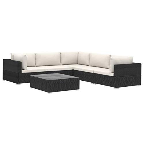 Tidyard Conjuntos Sofa Exterior Tumbonas Jardin Exterior Set Muebles de jardín 6 Piezas y Cojines ratán sintético Negro
