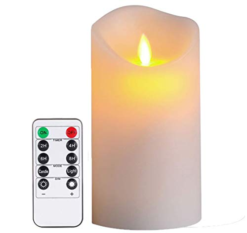 ACROSS Everlasting Flickering Flameless Candles, 3'D x 5' H Real Wax LED Pillar Candles Battery Operated Realistic 3D Dancing Flame Fake Candles with 10-Key Remote Control and Cycling 24 Hours Timer