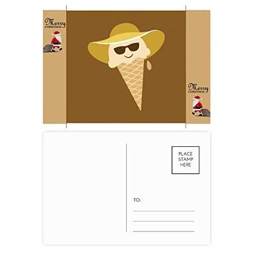 Geschenk-Postkarte mit Hut und Brillenkopf, Motiv: Weihnachtsmann, 20 Stück