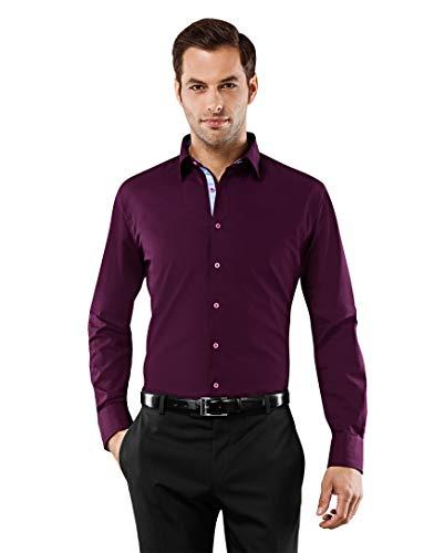 Vincenzo Boretti Herren-Hemd bügelfrei 100% Baumwolle Slim-fit tailliert Uni-Farben - Männer lang-arm Hemden für Anzug Krawatte Business Hochzeit Freizeit aubergine 41/42