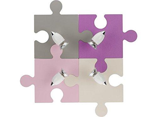 Nowodvorski - Applique per bambini a puzzle (4GU10). Rif. 6384, Grigio/Lilla/Rosa