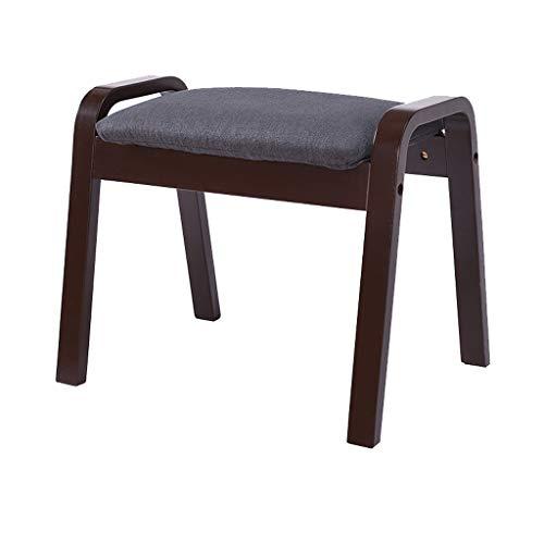 hsj LF- Taburete de sofá para el hogar de algodón y lino, taburete de nogal de tacón alto, simple y creativo para dormitorio, sala de estar, cómodo (color: negro)