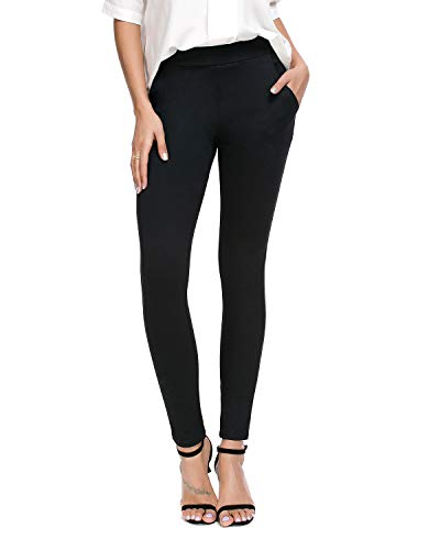 Bamans Women's Skinny Leg Work Pull on Slim Stretch Yoga Dress Pants w/Tummy Control (Black, Large)