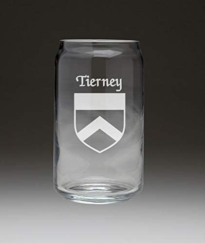Tierney Irish Coat of Arms Beer Same day shipping Glass Can Set 4 - Brand new