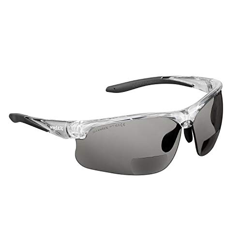 voltX 'CONSTRUCTOR ULTIMATE' Occhiali di sicurezza da lettura bifocali (Montatura trasparente, Lenti fumo + 2.0 Diottrie) CE EN166FT - Bifocali Cycling Sports