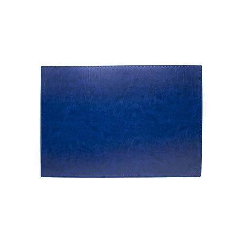 Vade de escritorio para escritorio de oficina y alfombrilla para ordenador portátil, de piel artesanal – 65 x 45 cm – Fabricado en Italia | FP Pieletterie – Dante (azul)