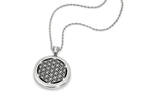 "Unisex Essential Oil Diffuser Necklace – Aromatherapy Jewelry - Hypoallergenic 316L Surgical Grade Stainless Steel, 24"" Rope Chain + 9 Washable Insert Pads"