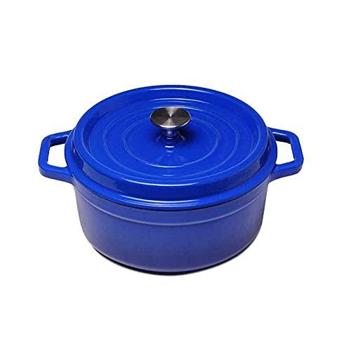 Cacerola de esmalte de esmalte Vintage Hierro fundido, guisado profundo, pote, cazuela binaural, con tapa, inucción, gas Universal, Azul-24cm