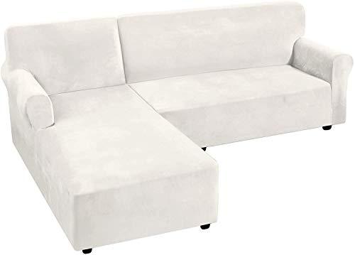 LINGKY Rich Velvet Stretch 2 Stück L-förmige Sofabezüge Anti-Rutsch-Schnittsofa Schonbezüge mit Riemen unten Luxus Dicker Samt Eck Sofa Bezug (Elfenbein,Large)