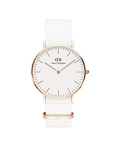 Daniel Wellington Classic Dover, Reloj Blanco/Oro Rosado, 36mm, NATO, para Mujer y Hombre