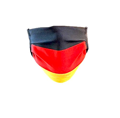 webkaufhaus24 Community Maske Deutschland Behelfsmaske mit Etikett, bei 60 Grad waschbar, Maske schwarz rot gelb, Deutschland Fahne
