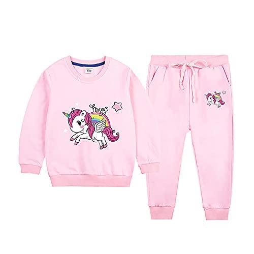 Alvivi Chándal Niña Sudadera Unicornios Sin Capuchas y Pantalónes Largos Conjuntos Casual de Ropa de Bebe Niña Rosa 3-4 años
