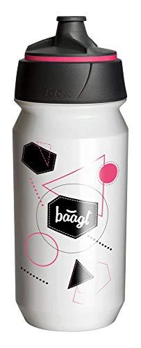 Baagl Botella de agua para niños, escuela, 0,5 l, ecológica, sin BPA y a prueba de fugas, botella deportiva para fútbol y gimnasio (rosa)