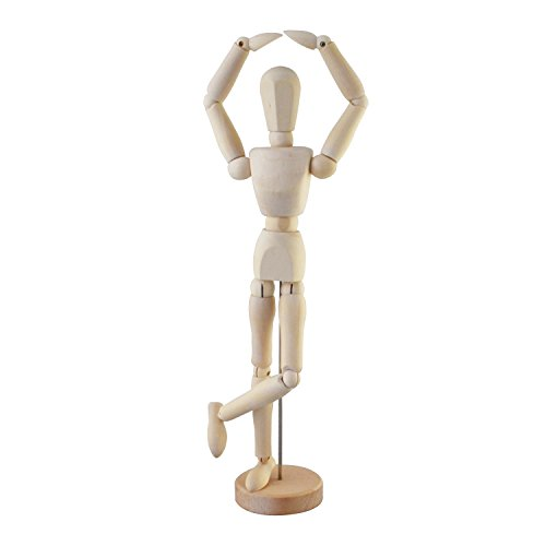 Wooden Drawing Mannequin Wood Artist Figure Doll Model Manikin with Flexible Posable Joints for Sketch Charcoal Home Office Desk Decoration Children Toys Gift 12''Female
