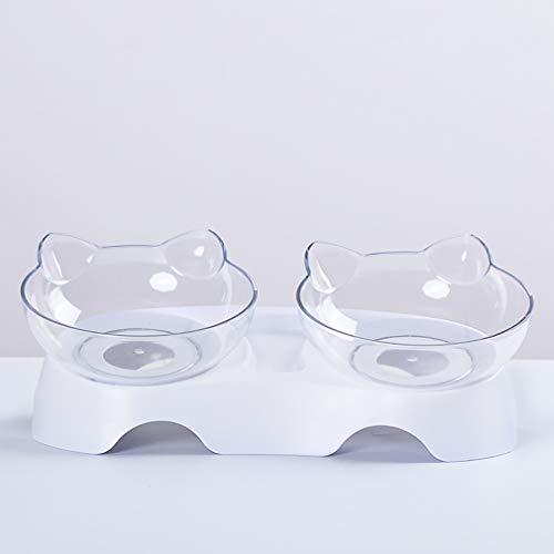 Sunnykud Doppelnapf für Katzen Katzenohrenförmiger Fressnapf 15°Geneigte Abnehmbarer Rutschfester Basis Katzenhundefutter Wasserzufuhr Fütterungsgeschirr