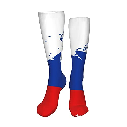 Russian Flag Compression Socks for Women&Men-Best Medical for Running Athletic Flight Travel Circulation Recovery,19.8 Inch