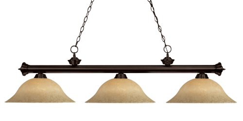Z-Lite 200-3BRZ-GM16 Riviera Three Light Billiard, Steel Frame, Bronze Finish and Golden Mottle Shade of Glass Material