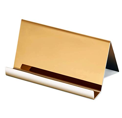 NIPOLE High-end Business Card Holder Stainless Steel Mirror Polish Desk Accessory Business Card Display Stand Rack Office Organizer (Deep Dark Gold)
