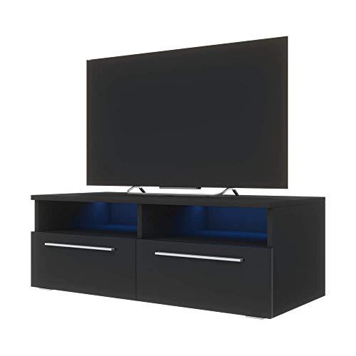 Siena – Mobile Porta TV / Supporto TV Moderno (100 cm, Nero Opaco / Pannelli Frontali Nero Lucido con luci LED blu)