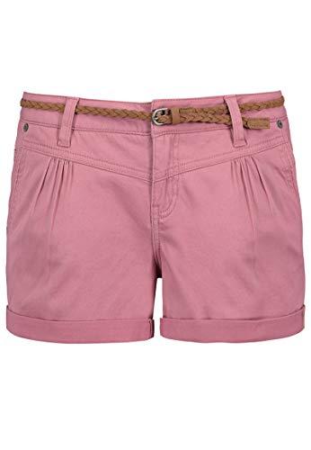 Sublevel Damen Kurze Hose Stretch-Shorts mit Flecht-Gürtel Dark-Rose S