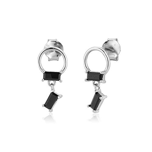 Pendiente de plata de ley 925 con dos circonitas, Piercing Simple para mujer, joyería de boda para joyas punk de moda Rock, plata y negro