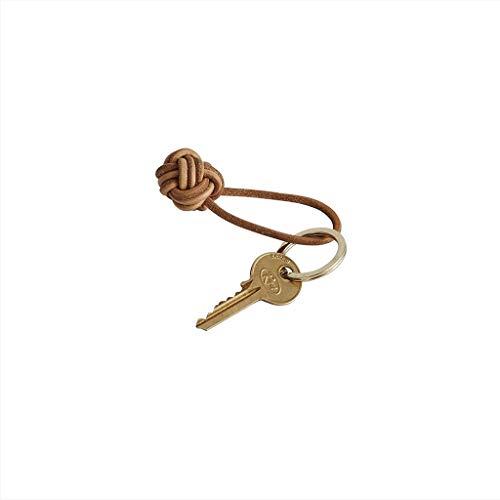OYOY Living Design Schlüsselanhänger aus Leder mit Messing Schlüsselring in Gold Lederknoten in Cognac Braun - 11002-907