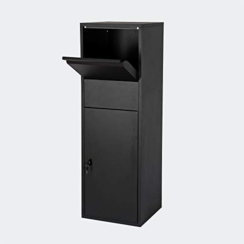 Paketbox Standbriefkasten schwarz Paketannahme für Zuhause passend für Pakete der Größe S und L