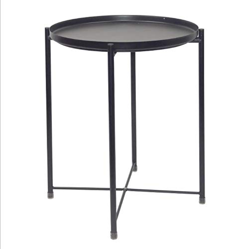 Jinyang Productos de calidad Mesa redonda de hierro nórdico Mesa de centro Mesa redonda pequeña de metal (Blanco) Jinyang (Color : Black)